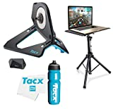 TacX NEO 2T Smart Bike Trainer Bundle with TacX/PlayBetter Premium 750ml Cycling Water Bottle, Floor Laptop Stand & Large Trainer Towel | Pedal Stroke Analysis | Indoor Bike Training