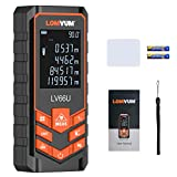 Lomvum Digital Laser Measurement - 393ft Laser Distance Meter Mute Function with Backlit LCD Screen, Single-distance Measurement, Continuous Measurement, Area, Pythagorean Modes
