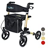 Health Line Massage Products Compact Rollator for Seniors, Aluminum Side-Fold Rolling Walker with Paded Seat, Bright Champagne