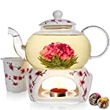 Teabloom Cherry Blossom Teapot & Flowering Tea Gift Set - Stovetop Safe Glass Teapot (27 OZ / 800 ML / 2-3 Cups), Porcelain Lid, Loose Tea Infuser, Tea Warmer + Candle, 2 Gourmet Flowering Teas