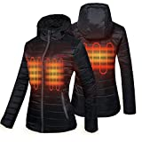 CONQUECO Women's Heated Jacket Slim Fit Light Weight Electric Jacket in Winter (L) Black
