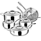 Duxtop Whole-Clad Tri-Ply Stainless Steel Induction Cookware Set, 10PC Kitchen Pots and Pans Set