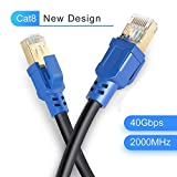 Cat8 Ethernet Cable 10ft, LDKCOK Internet Network Cord, 40Gbps 2000Mhz LAN Wires, High Speed S/FTP LAN Cables with Gold Plated RJ45 Connector for Router, Modem, Gaming, Xbox (10 ft/3m)