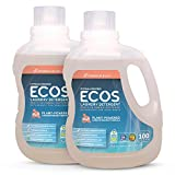 ECOS® 2X Hypoallergenic Liquid Laundry Detergent, Non-Toxic, Magnolia Lily, 200 Loads, 100oz Bottle by Earth Friendly Products (Pack of 2)
