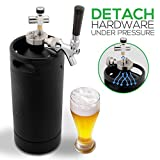 NutriChef PKBRTP110 Mini Keg Detachable Aluminum Regulator & Spout Easy Storage Under Pressure-Homebrew Growler Beer Dispenser, 128oz, Powder Coat Black Matte