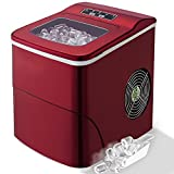 Countertop Ice Maker PortableIce MakingMachine-BulletIce Cubes Ready in 6Mins - Makes 26 lbs Ice in 24 hrs - Perfect for Home/Office/Bar, LCD Display & Ice Scoop& Bucket(Red)