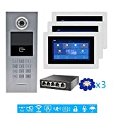 VEHISEURE 720P HD IP POE 7' Touch Screen Video Intercom Door Phone Record Kit for 3 Apartments Phone Remote View Intercom Unlock Night Vision Waterproof Metal IC Keypad Doorbell Camera Color Silver