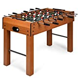 GYMAX 48' Foosball Table, Indoor Soccer Wood Game Table w/ 2 Balls, Competition Sized & Multi Person Table Soccer for Adults, Home, Game Room (Brown)