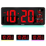 """YORTOT 16"""" Large Digital Wall Clock with Remote Control, 4 Level Brightness, 7 Color Decor Night Light, Big Red Number LED Display with Indoor Temperature, Date and 12/24H, DST, Fold Out Stand"""