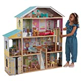 KidKraft Majestic Mansion Wooden Dollhouse with 34-Piece Accessories, Working Elevator and Garage, Gift for Ages 3+