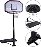 Movement God Pro Court Height-Adjustable Portable Basketball Hoop System with 43' Backboard (Black)