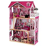 KidKraft Amelia Wooden Dollhouse with Elevator, Balcony and 15-Piece Accessories, Pink, Gift for Ages 3+