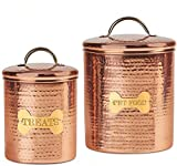 JointFeat Dog Food and Treats Canisters Set – 104 and 38 oz Copper Food Safe Storage Containers