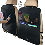 MyTravelAide Car Backseat Organizer Kick Mats (2 Pack) with XL Storage Pockets for Tablets - Perfect Travel Accessories for Kids