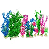 Otterly Pets Plastic Plants for Fish Tank Decorations Large Artificial Aquarium Decor and Accessories (Blue and Purple 8-Pack)