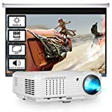 5000 Lumen 1080P Projector, Home Theater HD Projector with 50000Hrs Lamp Life, LED LCD Outdoor Movie Projector Compatible with Smart Phone, Android, PS4, TV Stick, Laptop, DVD, HDMI, VGA, USB