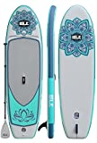 """ISLE 11' Scout - Inflatable Stand Up Paddle Board - 6"""" Thick iSUP and Bundle Accessory Pack - Durable and Lightweight - Stable Wide Stance - Up to 240 lbs Capacity (Aqua 2018)"""