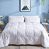 DOWNCOOL Cotton Goose Duck Feather Down Comforter - Lightweight Quilted Duvet Insert with Corner Tabs - Box Stitched Stand-Alone Comforter- White, King