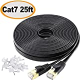 Jadaol Cat 7 Ethernet Cable 25 ft Shielded (SSTP), High Speed Solid Flat Internet Lan Computer patch cord, faster than Cat5e/Cat5/cat6, Durable Rj45 Cat7 network Wire for Router,Modem, Xbox, PS-Black