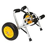 Bonnlo Universal Kayak Carrier Trolley Cart Dolly for Carrying Kayaks, Canoes, Paddleboards, Float Mats, and Jon Boats with NO-Flat Airless Tires 2 Ratchet Straps