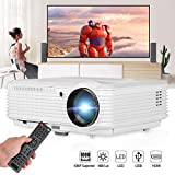 CAIWEI Home Cinema 4600 Lumen HD Video Projector HDMI USB Multimedia LCD Projectors for Gaming Support 1080P 200' Screen Zoom Keystone, Built-in Speaker for Basement Movie Artwork DVD Player