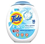 Tide PODS Free and Gentle Laundry Detergent, 96 Count, Unscented and Hypoallergenic for Sensitive Skin, Free and Clear of Dyes and Perfumes, HE Compatible (Packaging May Vary)