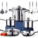 HOMI CHEF 14-Piece Mirror Polished Nickel Free Stainless Steel Cookware Set (No Toxic Non Stick Coating, 1 Frying Pans +1 Saute Pan +1 Stock Pot +2 Sauce Pans +5 Accessories) -Induction Ready Cookware