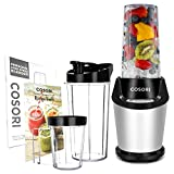 COSORI Upgraded Personal Blender(Recipe Book Included), Smoothie & Shakes Blender with 800W Auto-Blend Base for Ice Fruits & Nutrients Extraction, 2 x 24oz cups, 1 x 12oz cup, ETL Listed