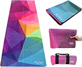 Plyopic Travel Yoga Mat | Foldable 3-in-1 Mat/Yoga Towel/Hygienic Mat Topper. Luxury Sweat-Grip Surface and Non-Slip Rubber Backing. For Yoga, Pilates, Fitness and Exercise | Portable and Eco-Friendly
