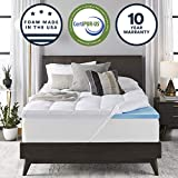 Sleep Innovations 4-inch Dual Layer Gel Memory Foam Enhanced Support, Full, Made in The USA with a 10-Year Warranty Mattress Topper