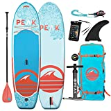 Peak 10' Yoga & Fitness Inflatable Stand Up Paddle Board — 6' Thick iSUP and Accessory Set Bundle — 32' Stable Wide Stance with Large Non-Slip Surface — 275 lb Capacity