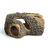 hygger Betta Log Resin Hollow Tree Trunk Ornament, Betta Fish Accessories, Aquarium Decorations Wood House Small and Medium Fish Tank Decor, with Holes for Small Fish Pets to Swim Through (Tree Trunk)