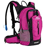 RUPUMPACK Insulated Hydration Backpack Pack with 2.5L BPA Free Bladder, Lightweight Daypack Water Backpack for Hiking Running Cycling Camping, Commuter, Fits Men, Women, Kids, 18L Rose
