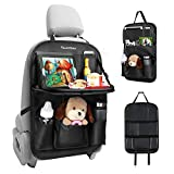 Car Back Seat Organizer Tsumbay PU Leather Car Storage Organizer with Foldable Table Tray, Tablet Holder, 9 Storage Pockets, Car Back Seat Protectors Kick Mats Car Travel Accessories for Kids (Black)