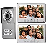 Intercom Camera,Video Door Phone Intercom Doorbell, Wired Video Door Phone Audio Visual Entry Intercom System Wall-Mounted 7inch Apartment 2 Units for Villa House Office(Silver)