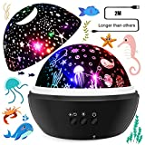 SYOSIN Baby Night Light Star Projector Lamp Warm White Kids Night Light Ocean Undersea Lamp and Starry Sky Projector, 8 Colors 360° Rotating Kids Gifts Night Light for Bedroom, Birthday, Parties Decor