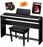Casio Privia PX-160 Digital Piano - Black Bundle with CS-67 Stand, SP-33 Pedal, Furniture Bench, Instructional Book, Austin Bazaar Instructional DVD, and Polishing Cloth