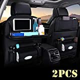 Car Back seat Organizer with Foldable Table Tray, PU Leather Car Back seat Organizer for Babies Toys Storage with Foldable Dining Table Holder Pocket,2 Pack,Black