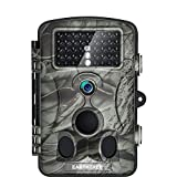 Game Trail Camera 1080P 12MP with Sound Scouting Camera with 2.4in LCD Screen No Glow Black Infrared Night Vision 0.5s Trigger Speed for Wildlife Hunting Monitoring and Farm Security (Brown 1)