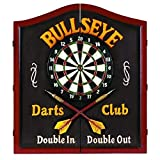 RAM Gameroom Products Wooden Dartboard Cabinet, 'Bullseye Darts Club - Double In, Double Out'