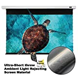VIVIDSTORM Ultra Short Throw Laser Electric Motorized Drop Down Projector Screen 92inch,Ceiling and Wall White housing Ultra-Short Throw Ambient Light Rejecting Screen Material VMSLUST92H