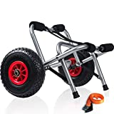 Kayak Cart Dolly Wheels Trolley - Kayaking Accessories Best for Beach Tires Transport Canoe Fishing Jon Boat Carrier Caddy Scupper Carts Trolly Roller Sit on Top Kayaks Wagon Wheel Hauler Tote Rollers