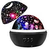 SYOSIN Night Light Projector for Kids,Bedside Lamp Warm White Night Light Ocean Undersea Lamp and Starry Sky Projector, 8 Colors 360° Rotating Kids Night Light for Bedroom, Birthday, Parties Decor