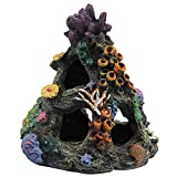 PINVNBY Coral Aquarium Decoration Fish Tank Resin Rock Mountain Cave Ornaments Betta Fish House for Betta Sleep Rest Hide Play Breed
