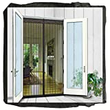 N-Green Magnetic Screen Door 74'x81' fits door up to 72'x80' Heavy Duty Mesh Curtain with Full Frame Velcro and Powerful Magnets that Snap Shut Automatically