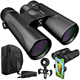 Stellax ZoomX Binoculars for Adults 10x42 Waterproof Lightweight Compact Binocular Prism BAK4 FMC Lens HD Binoculars for Bird Watching Hunting Traveling with Smartphone Adapter Carrying Bag Black