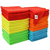 S&T INC. 968601 Multi Color 50 Pack Microfiber Cleaning Cloths, 50 Pack