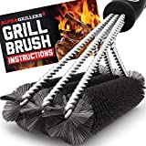 Alpha Grillers Grill Brush. Rust Proof Bbq Cleaning Scraper Accessories. Safe Stainless Steel Wire Bristle Grilling Cleaner Tools for Outdoor Barbecue Set, Incl Gas, Charcoal, Weber. Grill Brushes