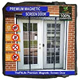 TheFitLife Double Door Magnetic Screen - Mesh Curtain with Full Frame Hook & Loop Powerful Magnets, Snap Shut Automatically for Patio, Sliding or Large Door, Black Fits Doors up to 60''x80'' Max