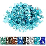 onlyfire Reflective Fire Glass for Natural or Propane Fire Pit, Fireplace, or Gas Log Sets, 10-Pound, 1/2-inch, Caribbean Blue